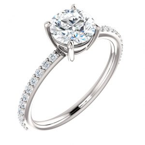 14K White 6.5mm Round Forever Moissanite Engagement Ring Set