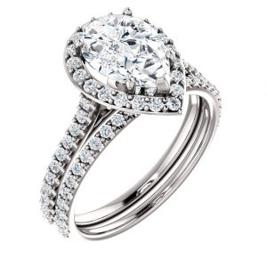 14K White Gold 10x7mm Pear Halo Moissanite Engagement Ring