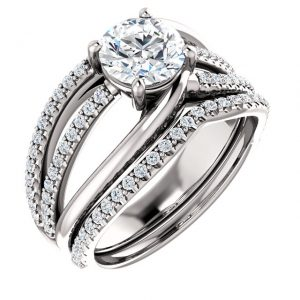 14K White Gold 6.5mm Round Accented Engagement Ring Set