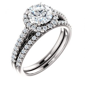 14K White Gold 6.5mm Round Halo Moissanite Engagement Ring Set