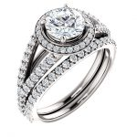 14K White Gold 6.5mm Round Moissanite Engagement Ring Set