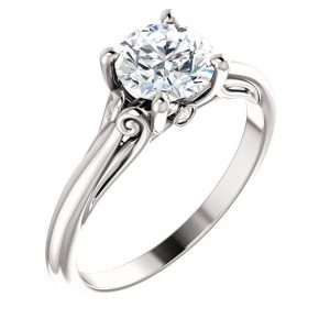 14K White Gold Moissanite Engagement Ring