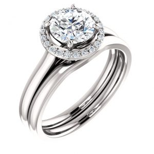 14K White Gold 6.5mm Round Moissanite Halo Style Engagement Ring