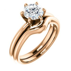 Moissanite Rose Gold Engagement Ring Set