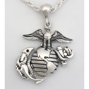 Marine Corps Necklaces - Eagle Globe and Anchor Pendant