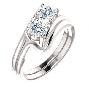 14K White 5.2 MM Round Two Stone Engagement Ring Set
