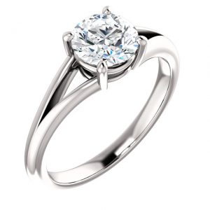 14K White 6.5mm Round Moissanite Engagement Ring