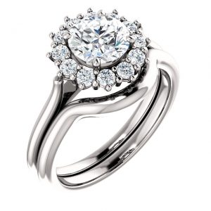 14K White Gold 6.5mm Halo Moissanite Engagement Ring Set