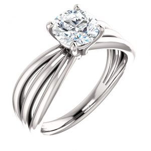 14K White Gold 6.5mm Round Solitaire Engagement Ring