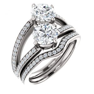 14K White Gold 6.5mm Round Two Stone Moissanite Engagement Ring Set