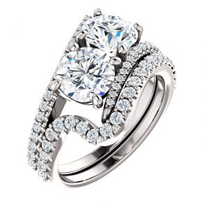 14K White Gold 6.5mm Two Stone Moissanite Engagement Ring Set