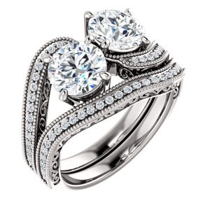 14K White Gold 6.5mm Two Stone Round Fancy Engagement Ring Set