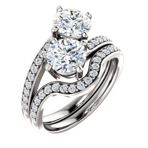 14K White Gold Round 6.5mm Two Stone Moissanite Engagement Ring Set