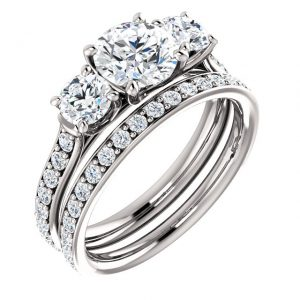 14K White Gold Moissanite Three Stone 6.5mm Round Engagement Ring Set